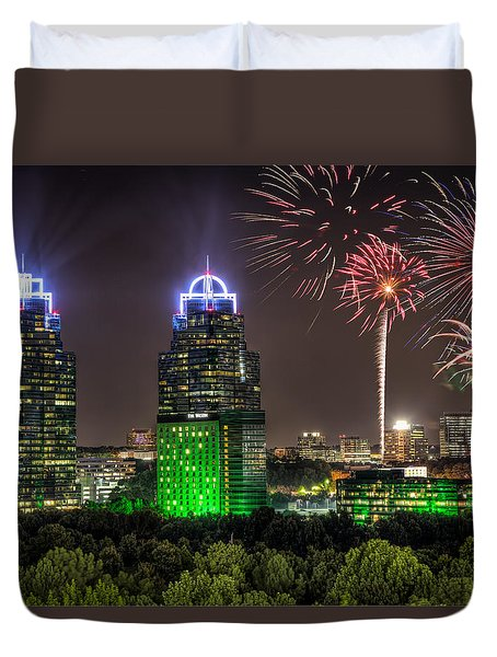 King And Queen Buildings Fireworks Duvet Cover by Anna Rumiantseva