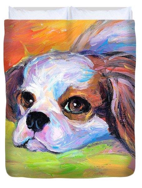King Charles Cavalier Spaniel Dog Painting Duvet Cover by Svetlana Novikova