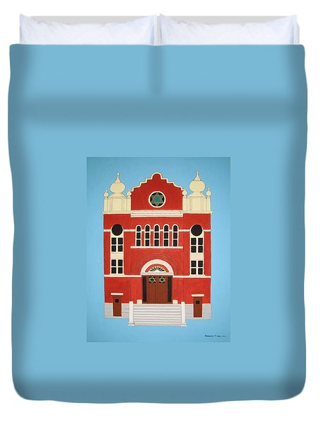 Duvet Cover featuring the painting King Edward Street Shul by Stephanie Moore