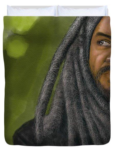 Duvet Cover featuring the digital art King Ezekiel by Antonio Romero