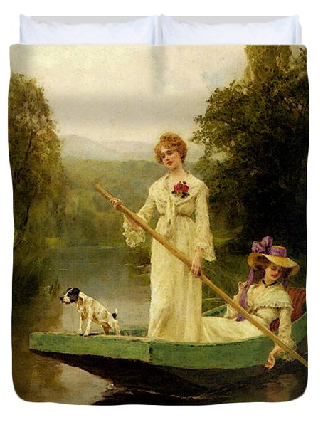 King Henry John Yeend Two Ladies Punting On The River Duvet Cover