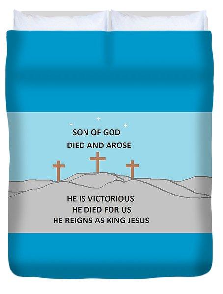 King Jesus Duvet Cover by Linda Velasquez