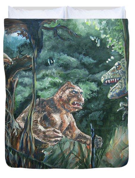 King Kong Vs T-rex Duvet Cover by Bryan Bustard
