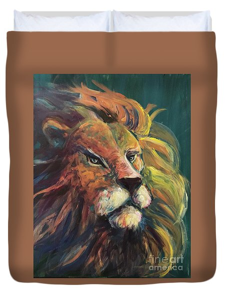 Duvet Cover featuring the painting Aslan by Lisa DuBois
