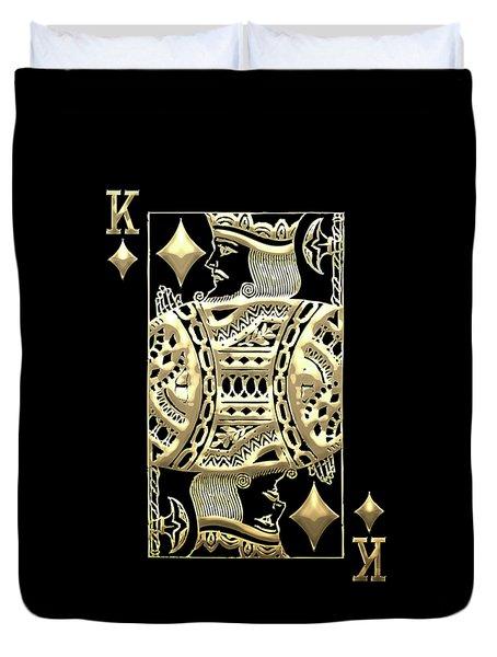 King Of Diamonds In Gold On Black  Duvet Cover