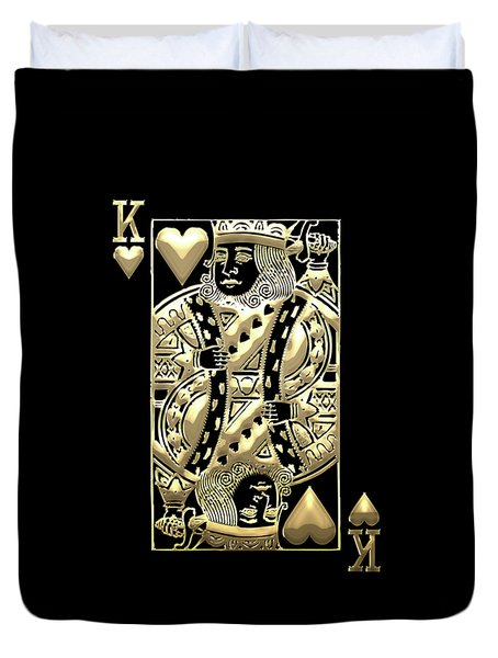 King Of Hearts In Gold On Black Duvet Cover