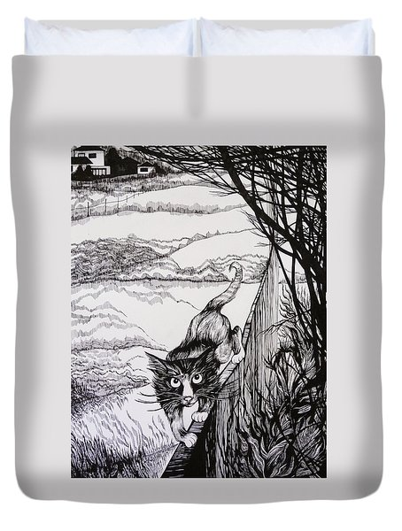 Duvet Cover featuring the drawing King Of Midnapore by Anna  Duyunova