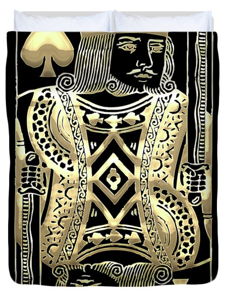 King Of Spades In Gold On Black   Duvet Cover