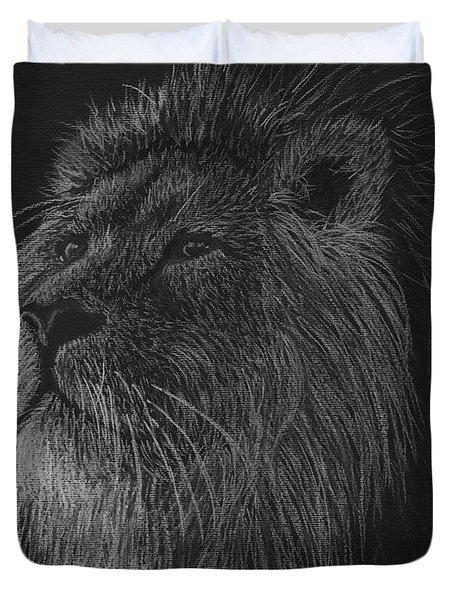 King Of The Beasts - Black And White Drawing Of A Lion Duvet Cover