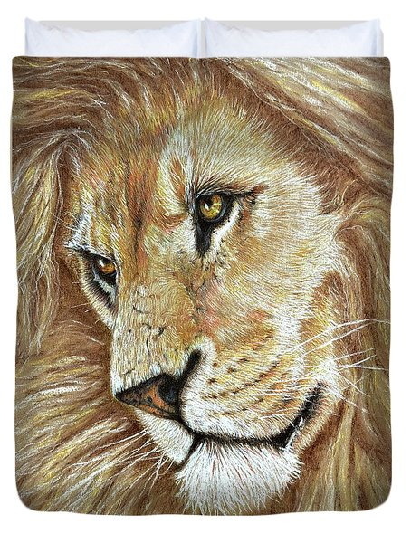 Duvet Cover featuring the drawing King Of The Jungle by Heidi Kriel