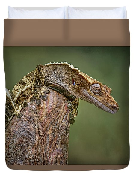 Duvet Cover featuring the photograph King Of The Mountain - Crested Gecko by Nikolyn McDonald