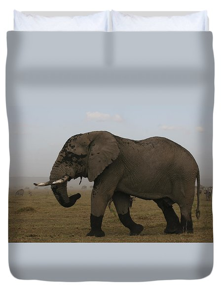 Duvet Cover featuring the photograph King Of The Savannah by Gary Hall