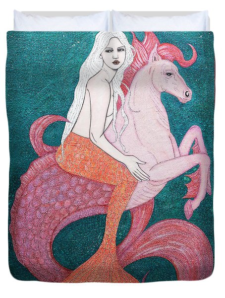 Duvet Cover featuring the mixed media King Of The Sea by Natalie Briney