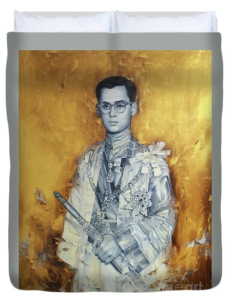 Duvet Cover featuring the painting King Phumiphol by Chonkhet Phanwichien