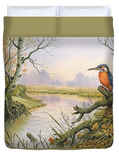 Kingfisher  Autumn River Scene Duvet Cover