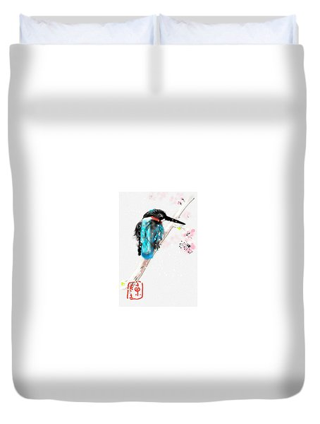 Kingfisher In Late Spring Snow Duvet Cover
