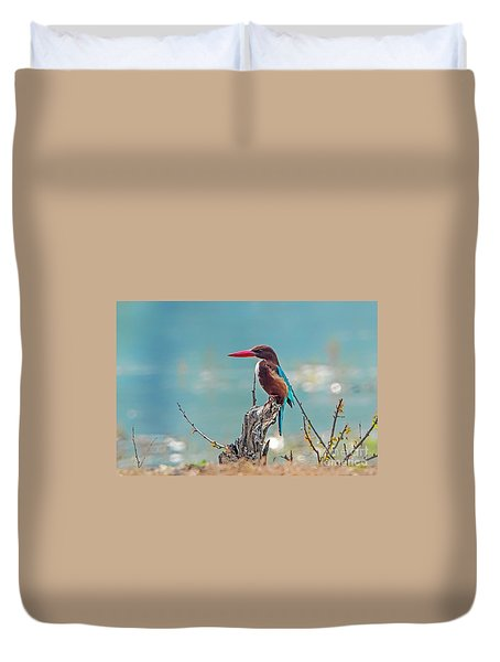 Kingfisher On A Stump Duvet Cover by Pravine Chester