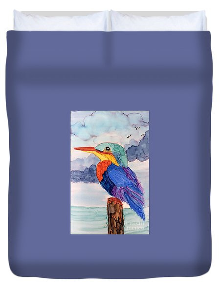 Kingfisher On Post Duvet Cover by Suzanne Canner