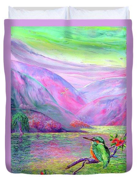Kingfisher, Shimmering Streams Duvet Cover