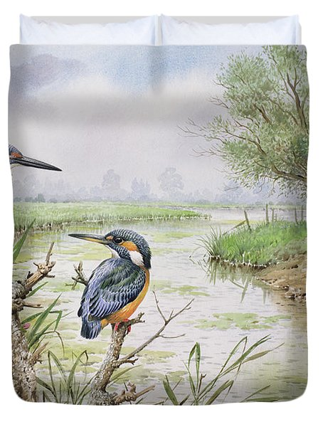 Kingfishers On The Riverbank Duvet Cover