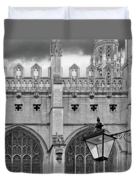 Duvet Cover featuring the photograph Kings College Chapel Cambridge Exterior Detail by Gill Billington
