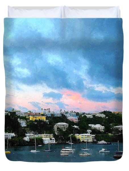 King's Wharf Bermuda Harbor Sunrise Duvet Cover by Susan Savad