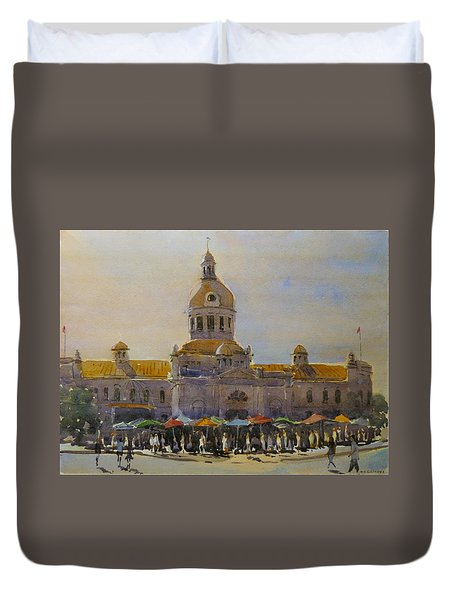 Kingston-city Hall Market Morning Duvet Cover