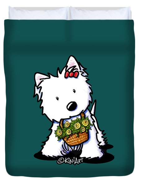 Kiniart Flower Basket Westie Duvet Cover