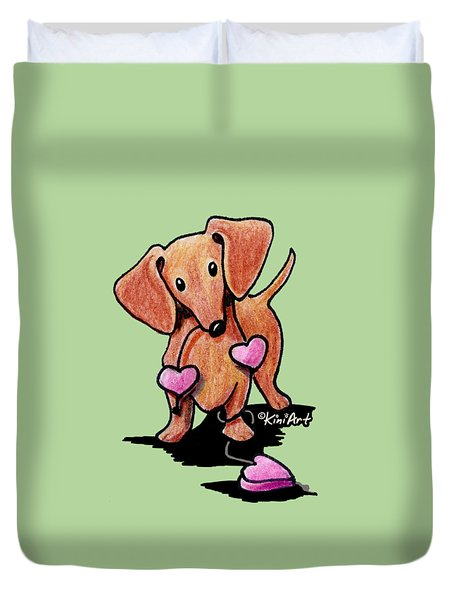 Kiniart Heartstrings Doxie Duvet Cover