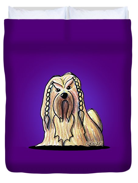 Kiniart Lhasa Apso Braided Duvet Cover by Kim Niles
