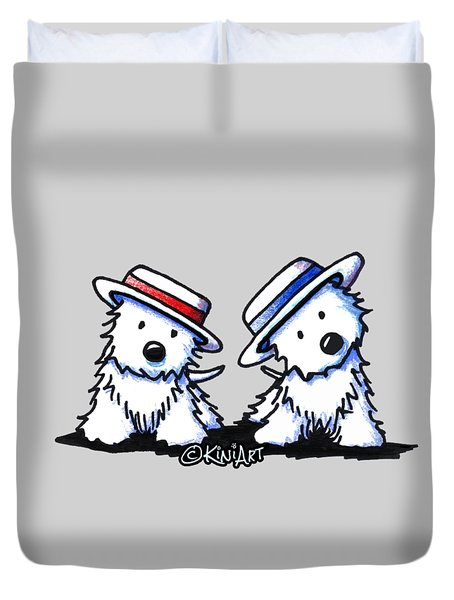 Kiniart Westie Dancing Duo Duvet Cover