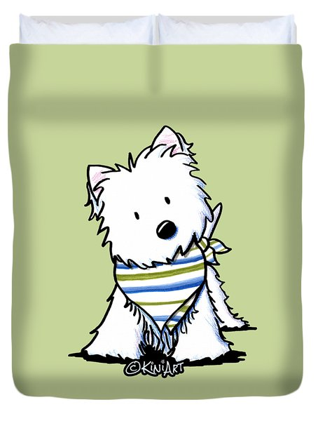 Kiniart Westie Terrier Duvet Cover