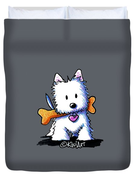 Kiniart Westie With Bone Duvet Cover