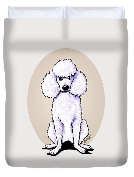 Kiniart White Poodle Duvet Cover by Kim Niles