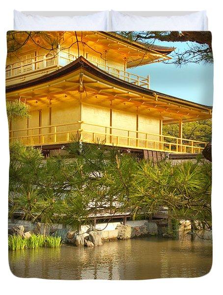 Kinkakuji Golden Pavilion Kyoto Duvet Cover by Sebastian Musial