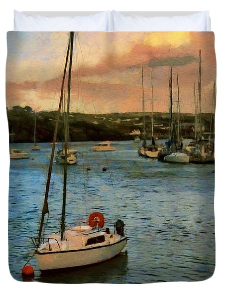 Duvet Cover featuring the painting Kinsale Harbour Evening by Jeff Kolker