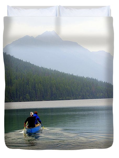Kintla Lake Paddlers Duvet Cover