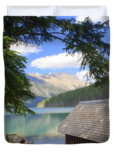 Kintla Lake Ranger Station Glacier National Park Duvet Cover