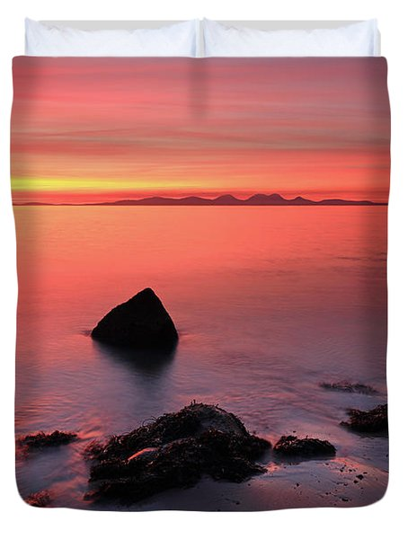 Duvet Cover featuring the photograph Kintyre Rocky Sunset 2 by Grant Glendinning