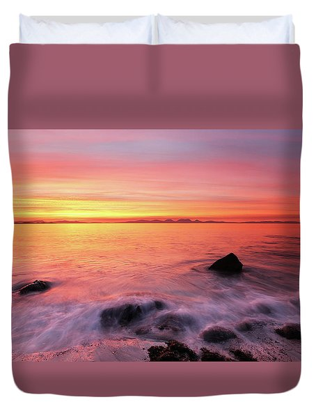 Duvet Cover featuring the photograph Kintyre Rocky Sunset 3 by Grant Glendinning