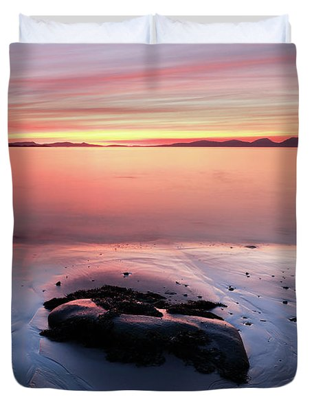 Duvet Cover featuring the photograph Kintyre Rocky Sunset 5 by Grant Glendinning