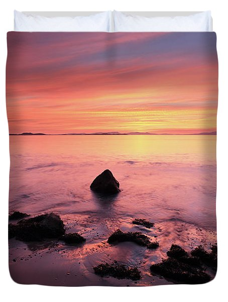 Duvet Cover featuring the photograph Kintyre Rocky Sunset by Grant Glendinning