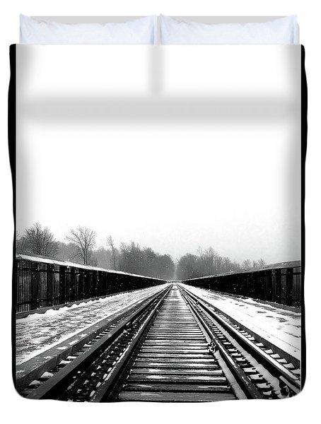 Duvet Cover featuring the digital art Kinzua Bridge Skywalk by Sharon Batdorf