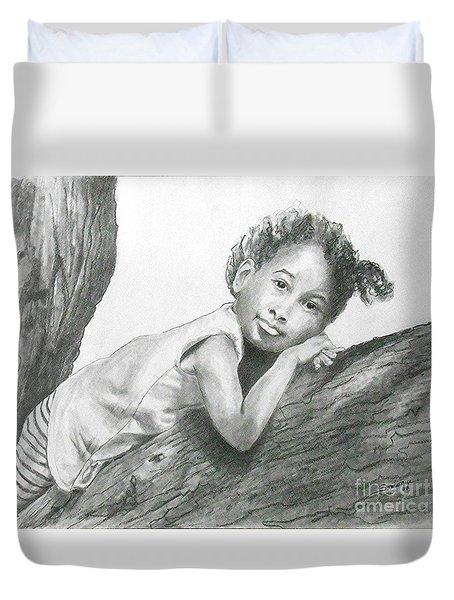 Kirikou, Dreaming -- Portrait Of Little African-american Girl Duvet Cover
