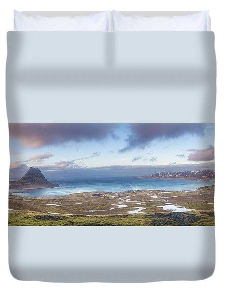 Kirkjufell And Grundarfjordur From On High Duvet Cover