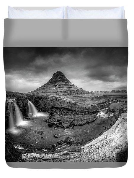 Kirkjufellsfoss Dawn Monochrome  Duvet Cover
