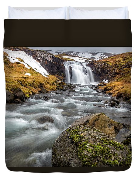 Kirkjufellsfoss Sibling  Duvet Cover