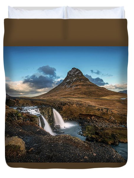 Duvet Cover featuring the photograph Kirkjufellsfoss Waterfall And Kirkjufell Mountain, Iceland by Pradeep Raja Prints