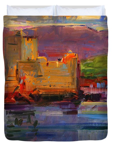 Kisimul Castle And Vatersay Duvet Cover by Peter Graham