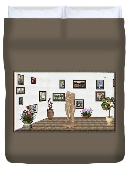 Duvet Cover featuring the mixed media Kiss 1 by Pemaro